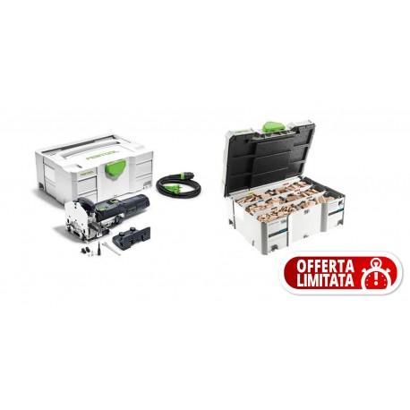 Festool Fresatrice per giunzioni DF 500 Q-Set DOMINO +ASSORTIMENTO TASSELLI E FRESE