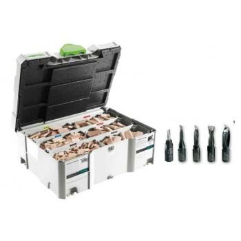 Festool Assortimento di tasselli di faggio DS 4/5/6/8/10 1060x BU + frese