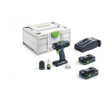 Festool Trapano avvitatore a batteria T 18+3 Li 4,0 HCP Plus
